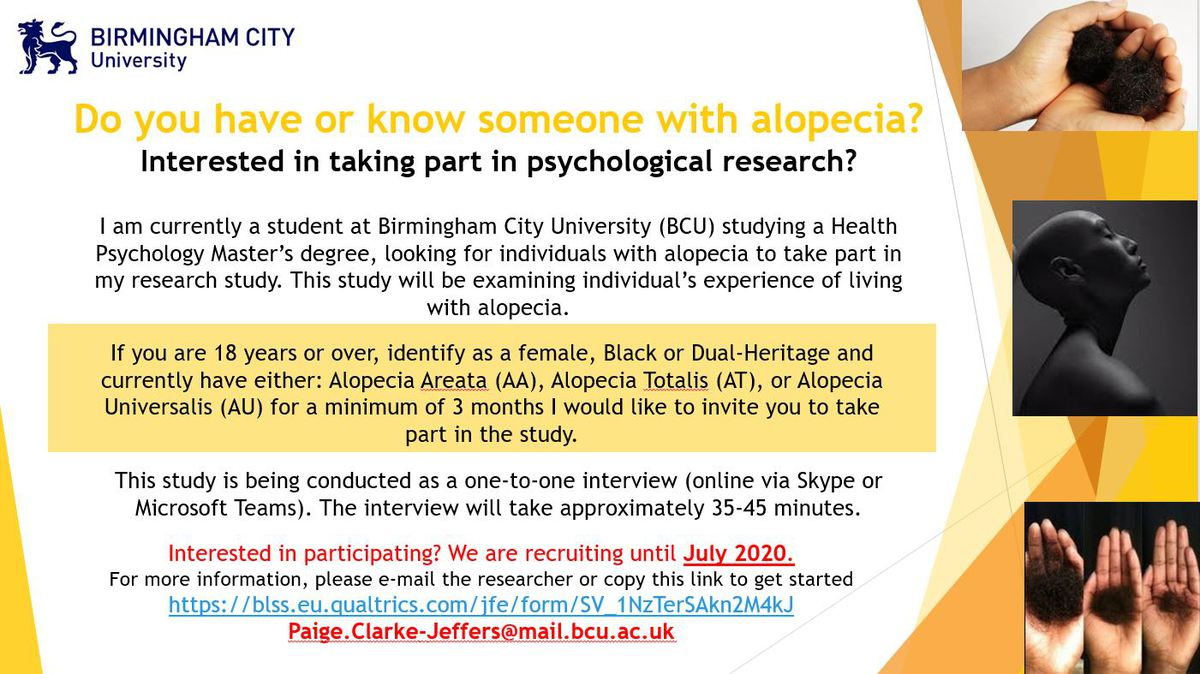 Do you have or known someone with alopecia interested in taking part in psychological research?